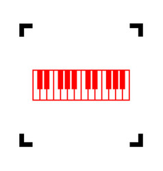 piano keyboard sign red icon inside black vector image