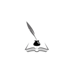 quill inkwell book in papers design icon vector image