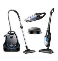 realistic vacuum cleaners set vector image
