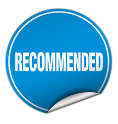 Recommended round blue sticker isolated on white vector