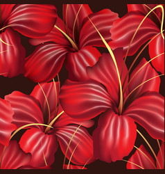Red orchid seamless pattern vector