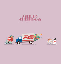 santa claus ride a motorbike following by truck vector image