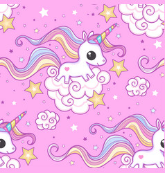 seamless pattern with unicorn on a pink vector image