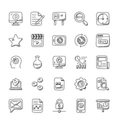Seo and marketing doodle icons set vector