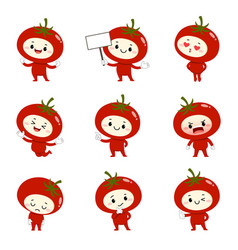 Set cute tomato cartoon characters vector