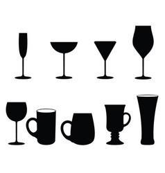 Set glasses set glasses for wine martini vector