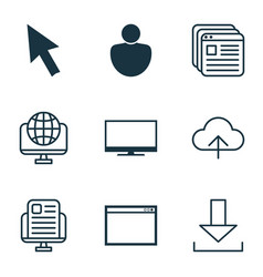 set of 9 internet icons includes display mouse vector image