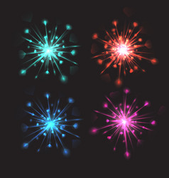 set of colorful bright fireworks with hearts for vector image