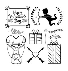 set presents gifts with cupid and arrow vector image
