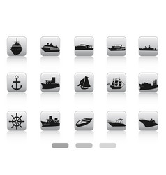 ship boat icon buttons set vector image vector image