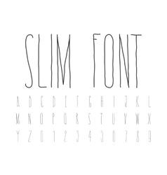 Simple decorative font handwritten slim alphabet vector