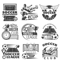 Soccer Black White Emblems vector image
