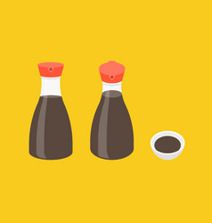soy sauce bottle icons set vector image