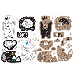 Sticker set with forest animals and design vector
