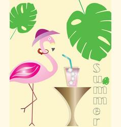 Summer logo - flamingo cartoon - exotic leaf vector