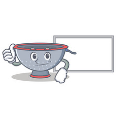 Thumbs up with board colander utensil character vector