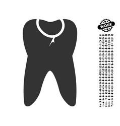 Tooth caries icon with men bonus vector