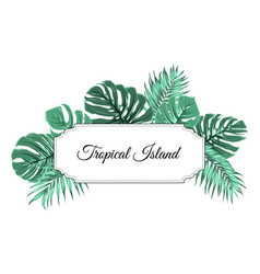 Tropical island jungle tree leaves border frame vector