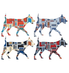 Trotting dog mosaics vector image