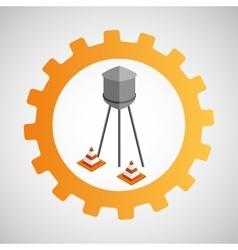 Under construction gear water tank cone vector