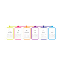 V infographic thin line design with icons and 6 vector