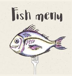 vintage menu with fish vector image