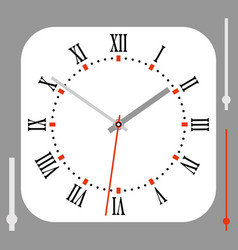 Vintage rounded square white watch dial with vector