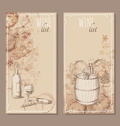 Wine list cards Menu cards sketch vector