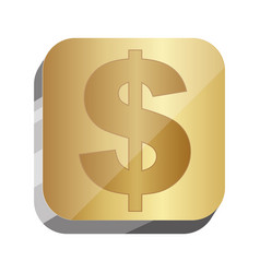 3d button dollar currency symbol vector image vector image