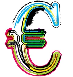 Colorful Grunge euro symbol vector image vector image