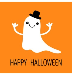 Funny flying baby boy ghost with black hat smiling vector