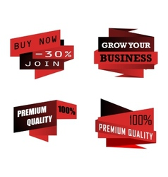 Set of origami business icons or labels vector image
