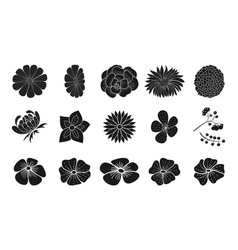 black floral silhouette collection doodle style vector image