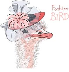 fashion Ostrich Bird vector image vector image