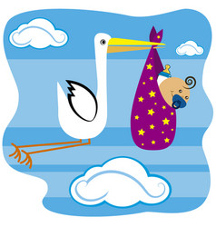 stork flying with baby vector image vector image