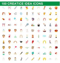 100 creative idea icons set cartoon style vector image vector image