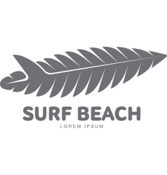 Black white surfing logo template with palm tree vector image vector image