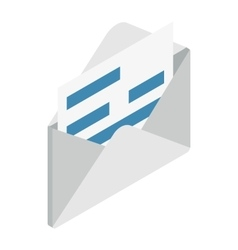 Document in envelope icon isometric 3d style vector image