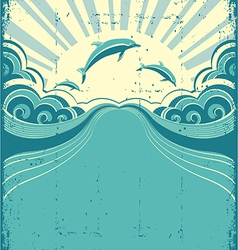 Grunge dolphins poster vector image vector image