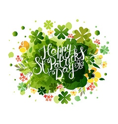 Hand sketched text Happy Saint Patricks Day on vector image