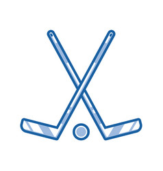 crossed hockey sticks outline icon vector image vector image