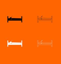 man sleeping black and white set icon vector image