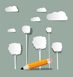 Paper Trees and Clouds with Pencil vector image