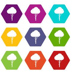 tree icon set color hexahedron vector image vector image