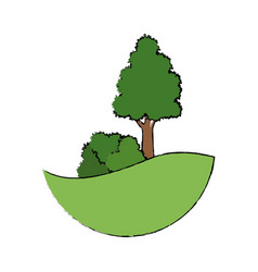 tree natual bush grass land forest vector image
