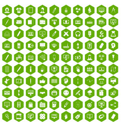 100 webdesign icons hexagon green vector