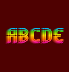 A b c d e iridescent letters thrilling vector