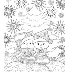 Adult coloring bookpage a pair of snowmen wearing vector