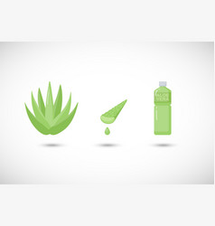 Aloe vera gel and drink flat icons set vector
