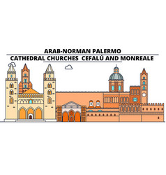 arab-norman palermo - cathedral churches - cefalu vector image